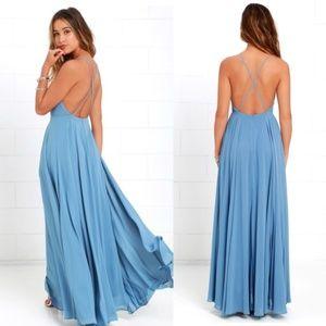 Lulus Mythical Kind of Love Dress Slate Blue Sx XL